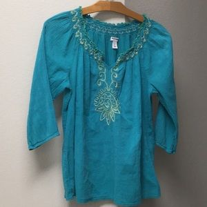 Teal embroidered blouse